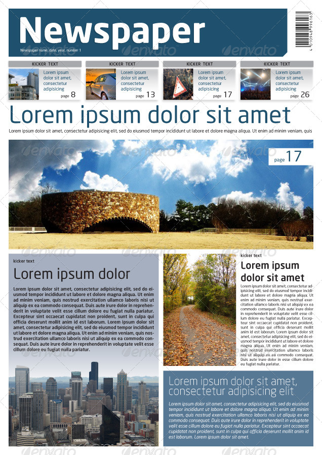 Newspaper Template A4 and A3 Format 10 Pages by Grgaatree – Newspaper Layout Template