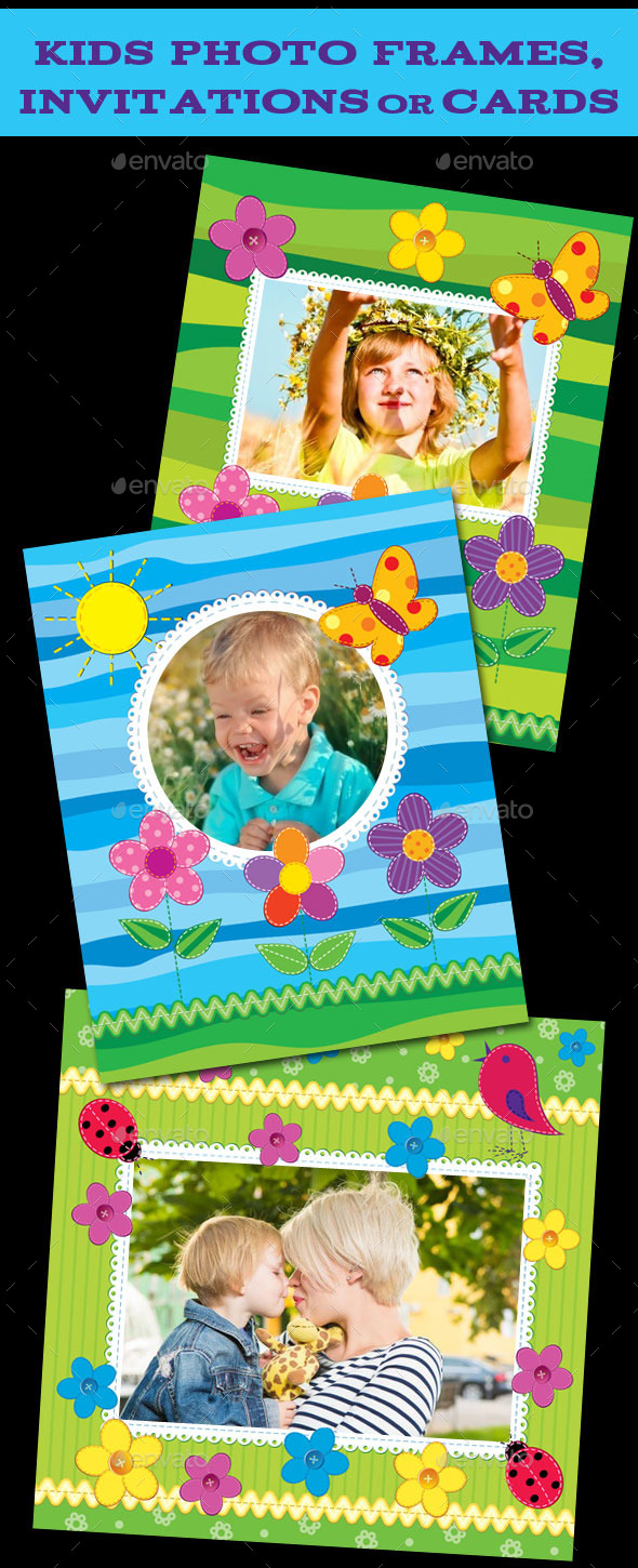 GraphicRiver Kids Photo Frames Invitations or Cards 9593961