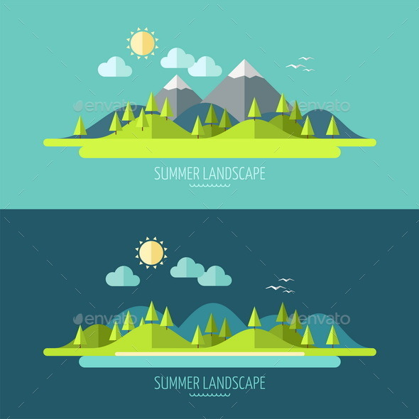 GraphicRiver Flat Design Nature Landscape 9594095