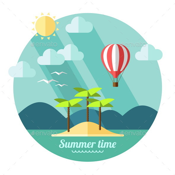 GraphicRiver Summer Landscape in Flat Style 9594116