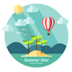 Summer Landscape in Flat Style - GraphicRiver Item for Sale