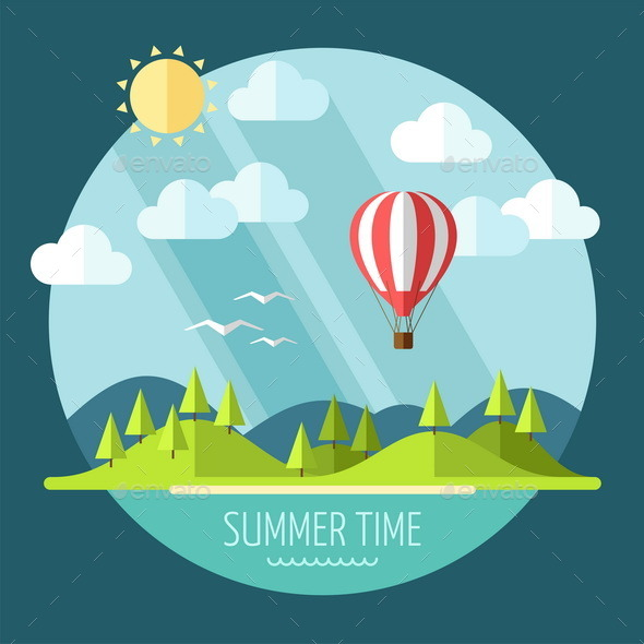 GraphicRiver Summer Landscape in Flat Style 9594167