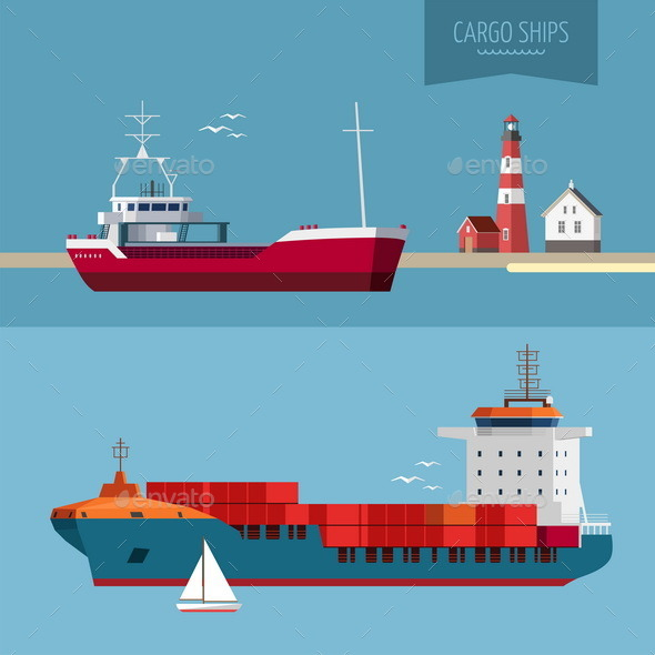 GraphicRiver Transportation Cargo Ship Illustration 9594234