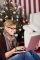 Woman Chatting with Friends Online on Christmas - PhotoDune Item for Sale