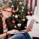 Sitting Young Woman with Glasses Holding Laptop - PhotoDune Item for Sale