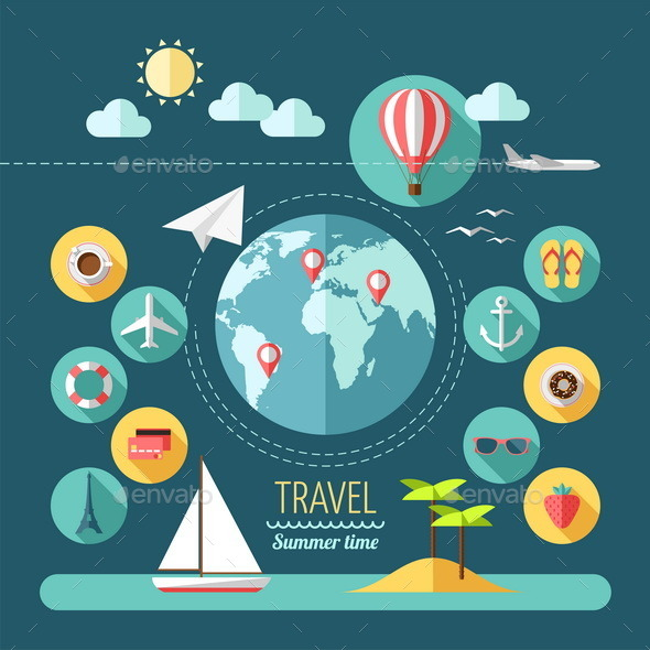 GraphicRiver Icons Set of Planning a Summer Vacation 9594397