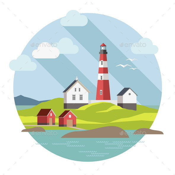 GraphicRiver Lighthouse on the Landscape 9594650