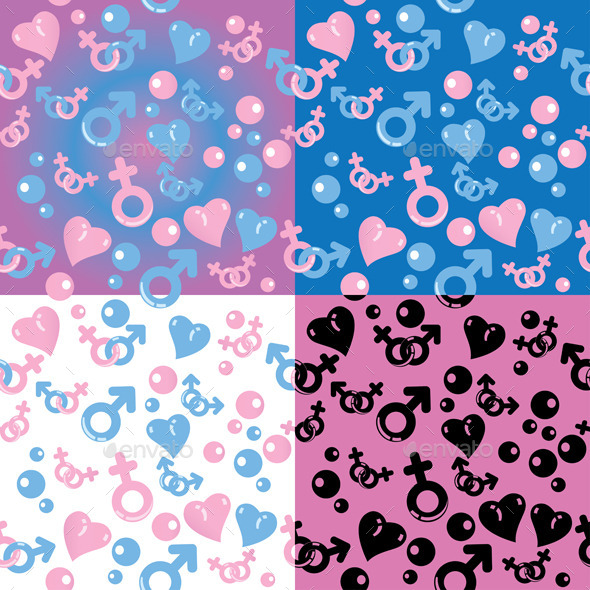 GraphicRiver Set of Love Patterns 9594726