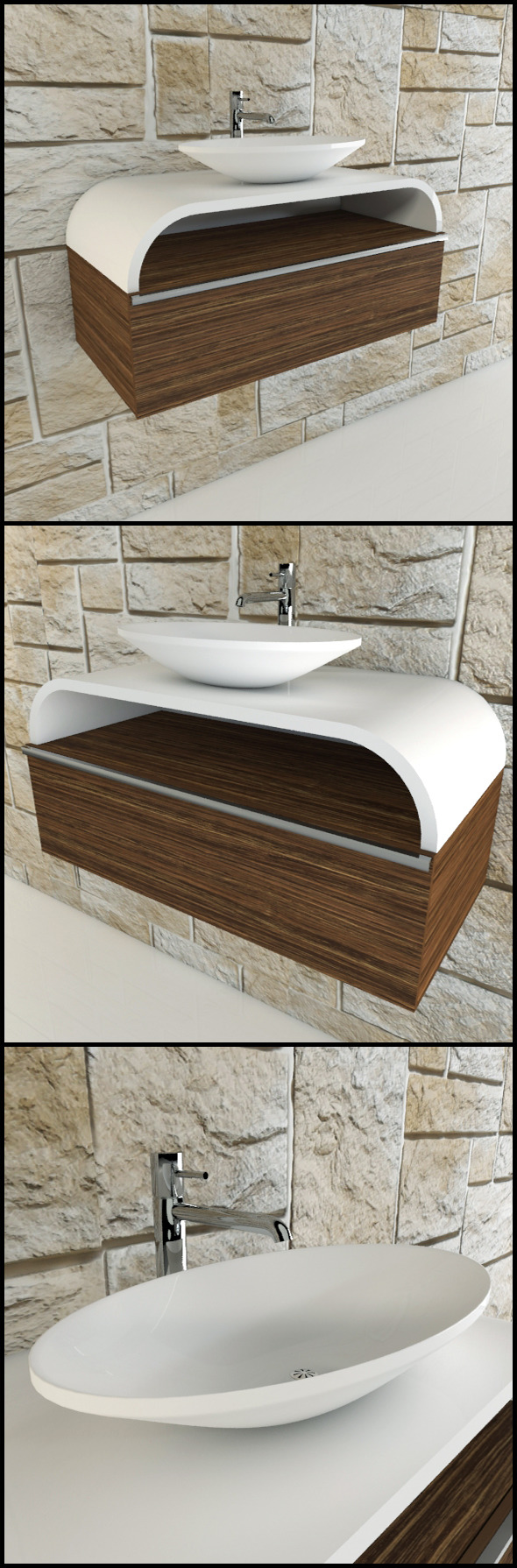 3DOcean Toilet basin with chrome tap and wood panels 9595380