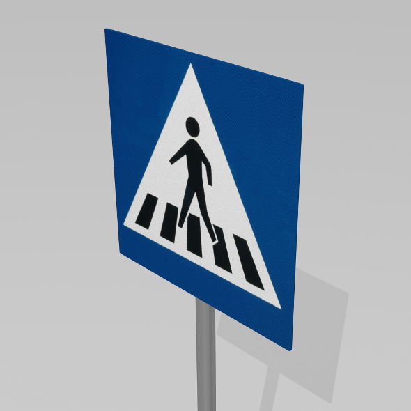 3DOcean Pedestrian crossing sign 9595580