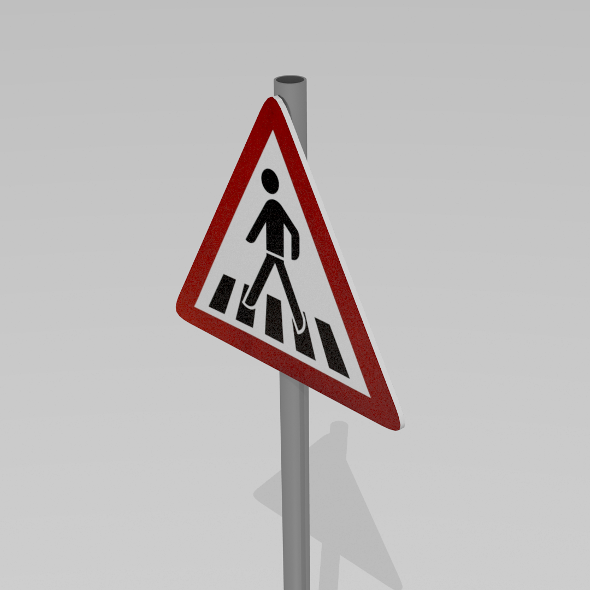 3DOcean Pedestrian crossing sign 9595596