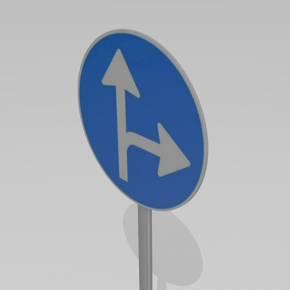 3DOcean Turn right or straight sign 9595615