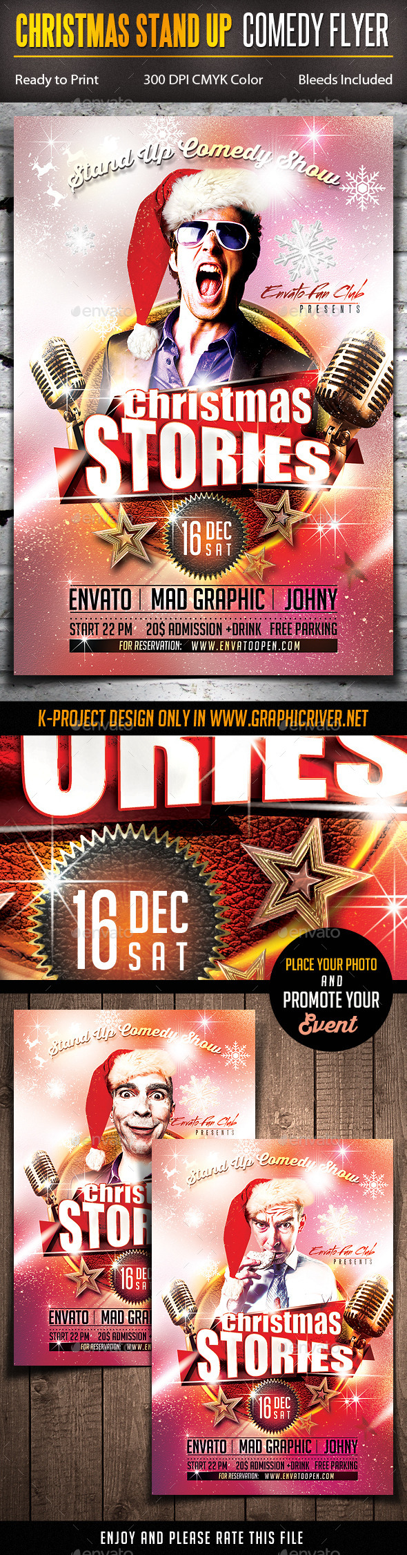 GraphicRiver Christmas Stand Up Comedy Flyer 9595748