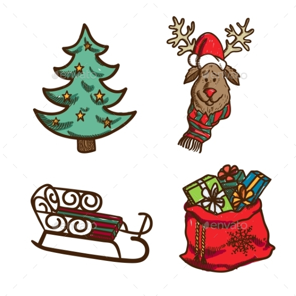 GraphicRiver Christmas and New Year Objects 9595776