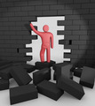 Abstract man breaking trough a wall. Concept of overcoming barriers - PhotoDune Item for Sale