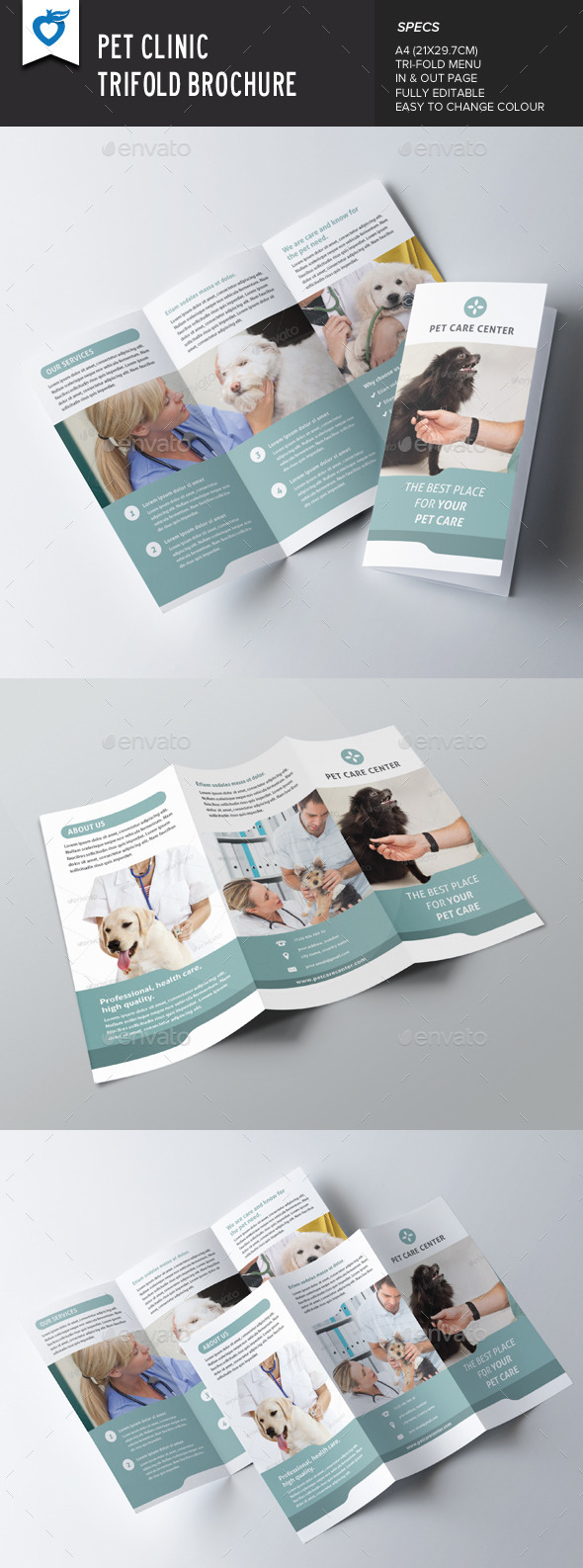GraphicRiver Pet Clinic Trifold Brochure 9597013