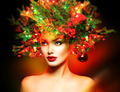 Winter Fashion Model Girl with Christmas tree hairstyle - PhotoDune Item for Sale