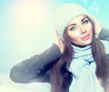 Beauty winter girl wearing hat and scarf - PhotoDune Item for Sale