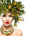 New Year and Christmas Tree Holiday Hairstyle and Makeup - PhotoDune Item for Sale