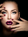 Fashion model girl face, beauty woman makeup and manicure - PhotoDune Item for Sale