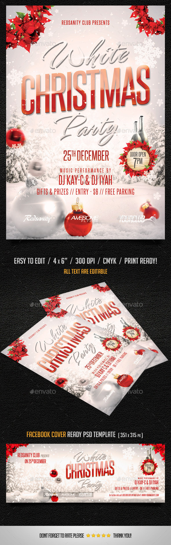 GraphicRiver White Christmas Party Flyer plus FB Cover 9597182