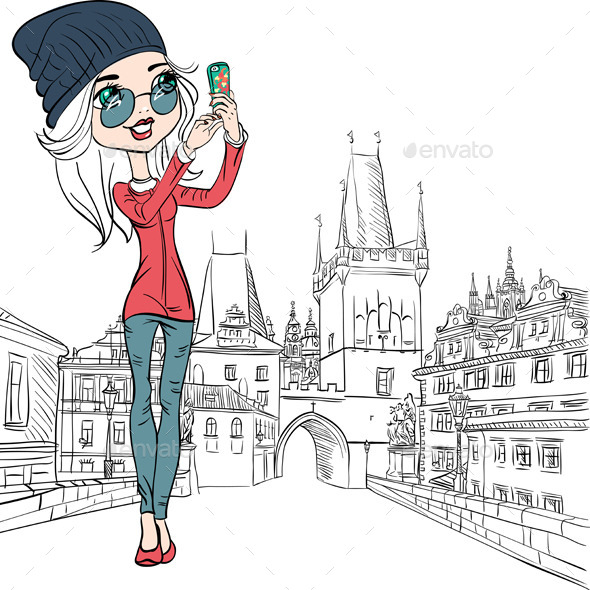 GraphicRiver Girl Makes Selfie in Prague 9597235