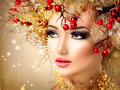 Christmas winter fashion model girl with golden hairstyle - PhotoDune Item for Sale