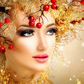 Christmas fashion model girl with golden hairstyle and makeup - PhotoDune Item for Sale