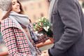 Romantic couple on a date with flowers - PhotoDune Item for Sale