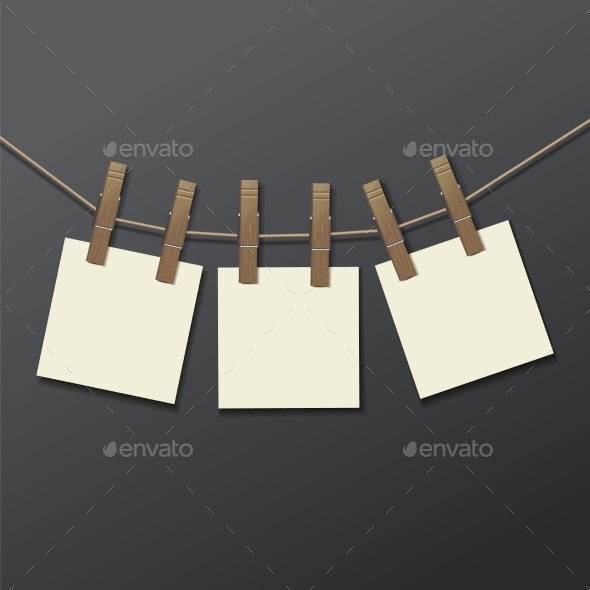 GraphicRiver Photo Frame with Clothespins 9597662