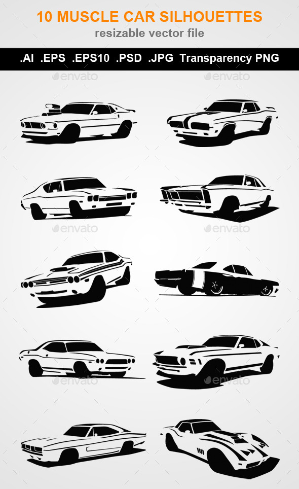 GraphicRiver 10 Muscle Car Silhouettes 9597693