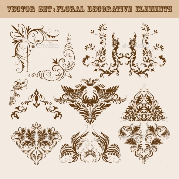 GraphicRiver Set of Floral Decorative Elements 9597740