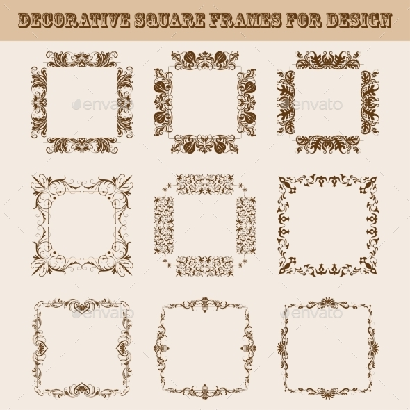 GraphicRiver Set of Square Frames for Design 9597742