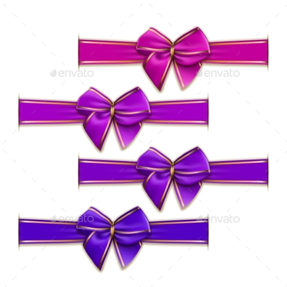 GraphicRiver Set of Elegant Silk Colored Bows 9597895