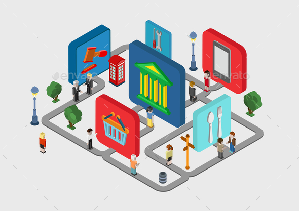 GraphicRiver Flat 3D Isometric City Navigation Icons 9598364