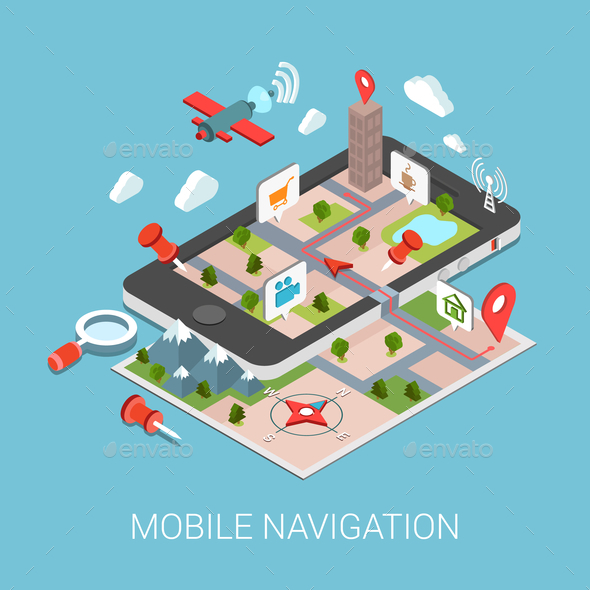 GraphicRiver Flat 3D Isometric Mobile Navigation Infographic 9598368