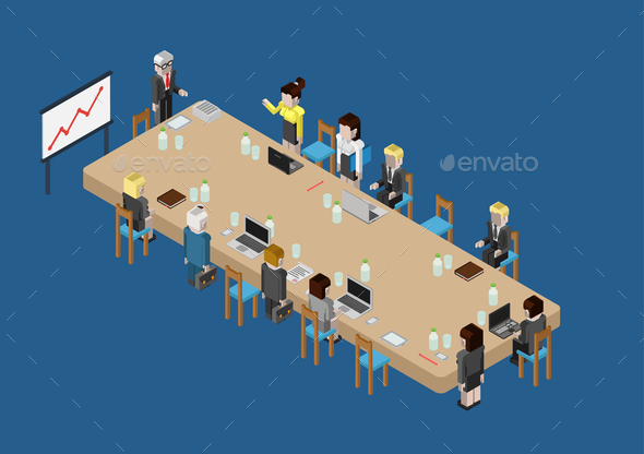 GraphicRiver Flat 3D Web Isometric Business Meeting 9598371