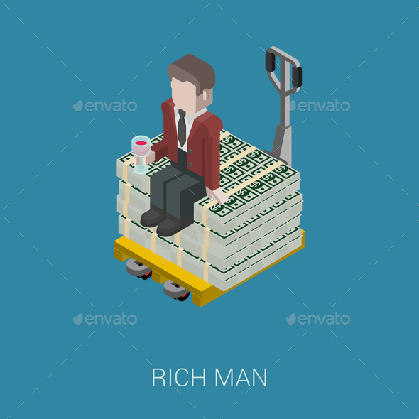 GraphicRiver Flat 3D Isometric Billionaire 9598372
