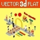 Flat 3D Isometric Fast Food Infographic - GraphicRiver Item for Sale