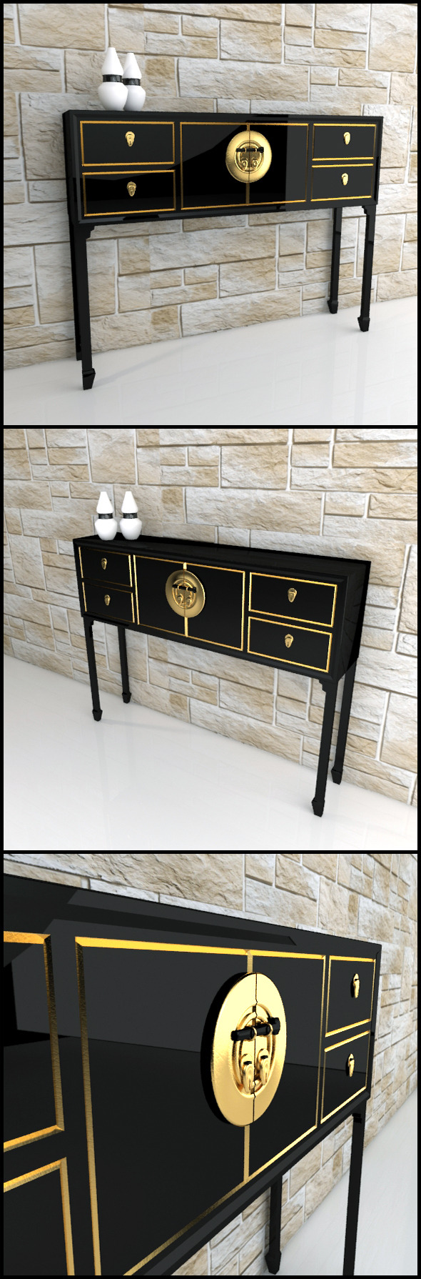 3DOcean Oriental console table sideboard 9598454