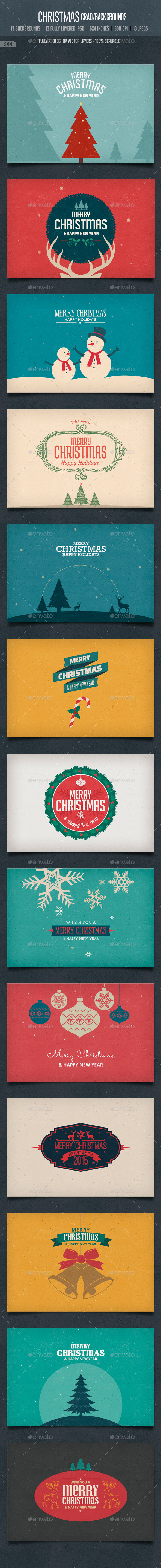 GraphicRiver Vintage Christmas Card Backgrounds 9598524