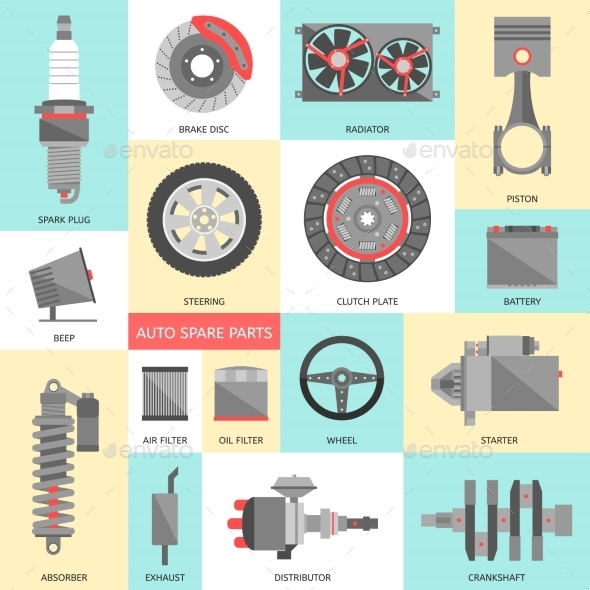 GraphicRiver Set of Auto Spare Parts Car Repair Icons in Flat 9598820