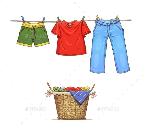 GraphicRiver Clothes on Rope and Basket with Wear 9599033