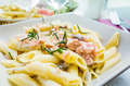 pasta and smoked salmon with tomato - PhotoDune Item for Sale