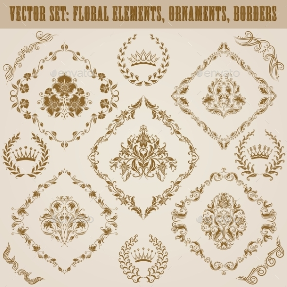 GraphicRiver Set of Damask Ornaments 9599724