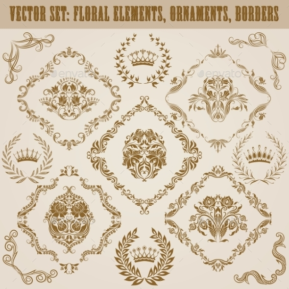 GraphicRiver Set of Damask Ornaments 9599729