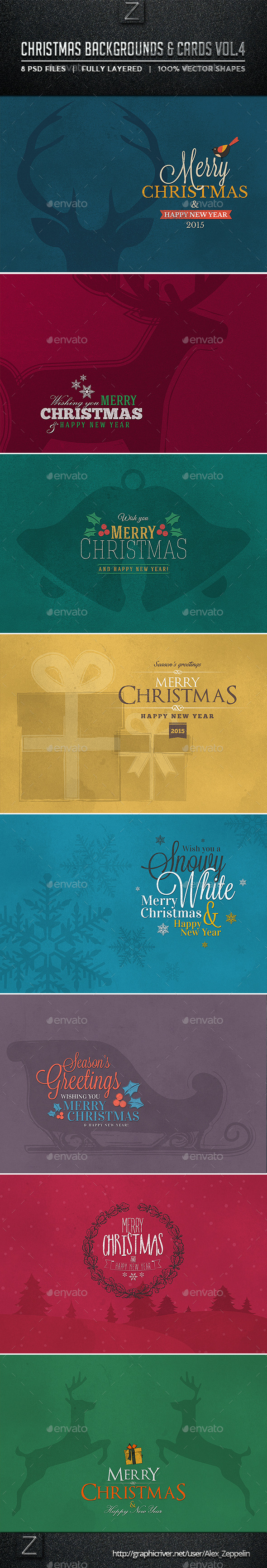 GraphicRiver Christmas Backgrounds and Cards Vol.4 9600077