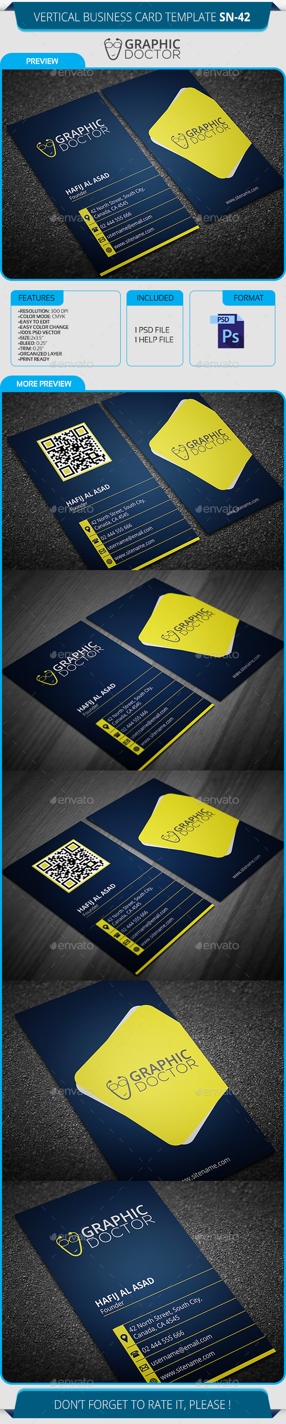 GraphicRiver Vertical Business Card Template SN-42 9600302