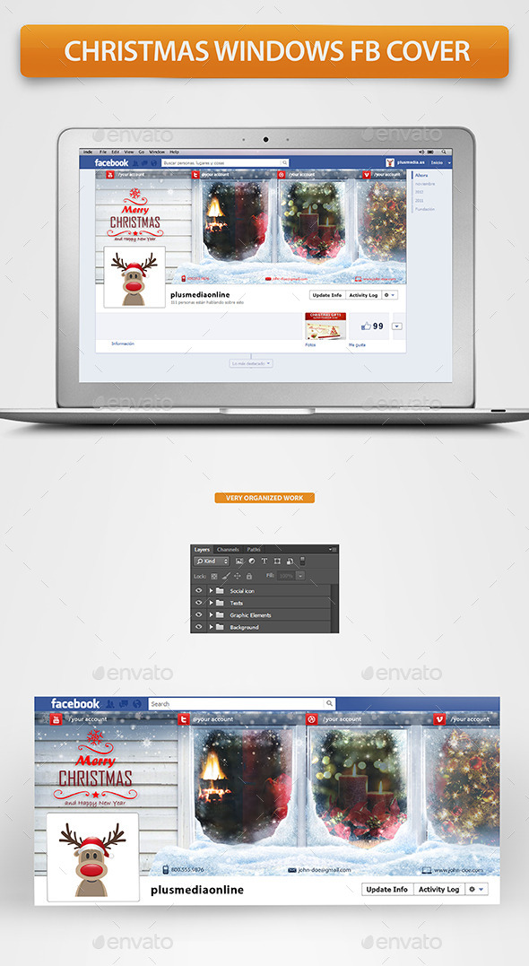 GraphicRiver Christmas Windows Fb Timeline Cover 9600848