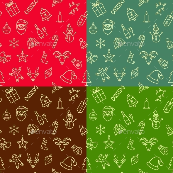 GraphicRiver Christmas Seamless Patterns Set 9601112